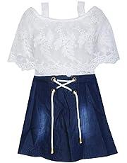 BENKILS Baby Girl's Denim Skirt Top Dresses White and Blue