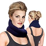 Hands-Free Neck Warmer Microwavable Wrap - Moist Heating Pad, Heated Neck Wrap & Pillow in One - Microwave Heating Pad for Neck & Shoulders - Neck Thermal Warmer by Sunnybay (Navy Blue)