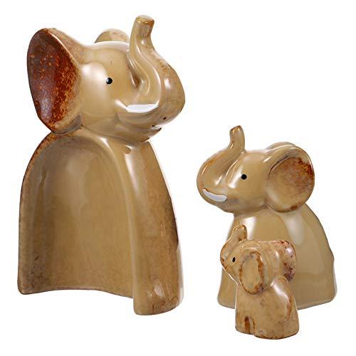 WINOMO 3 figuras decorativas de cerámica rústica con forma de elefante, para fiestas, decoración de mesa