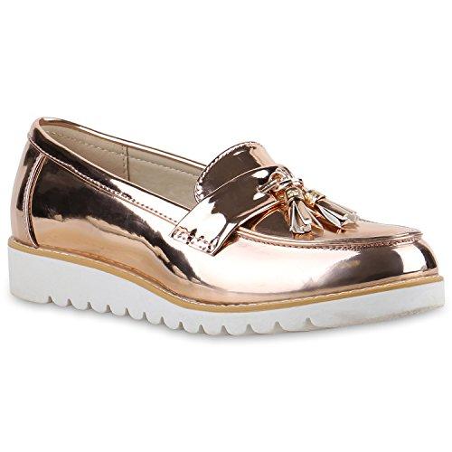 Stiefelparadies stiefelparadies Damen Schuhe 136594 Slipper Gold Rose Lack 39 Flandell