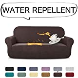AUJOY Stretch Sofa Cover Water-Repellent Couch Covers Dog Cat Pet Proof Couch Slipcovers Protectors (Sofa, Coffee)