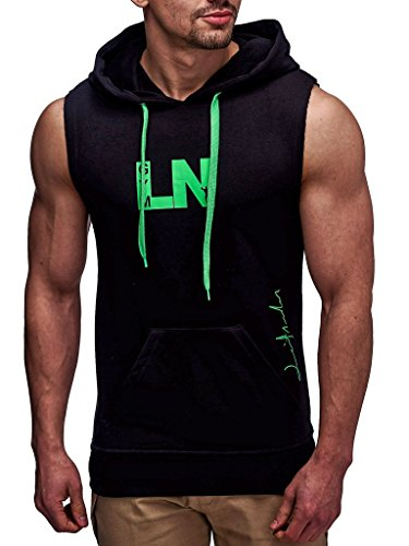 Leif Nelson Gym Herren Fitness T-Shirt Hoodie Trainingsshirt LN06260; Größe S, Schwarz-Grün