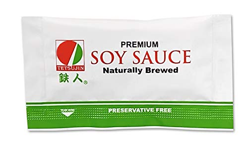 Tetsujin Natural Soy Sauce Packet - Box of 500 Low Sodium Soy Sauce Packet - Take Out Mini Togo Packs - Individual Condiment Packages