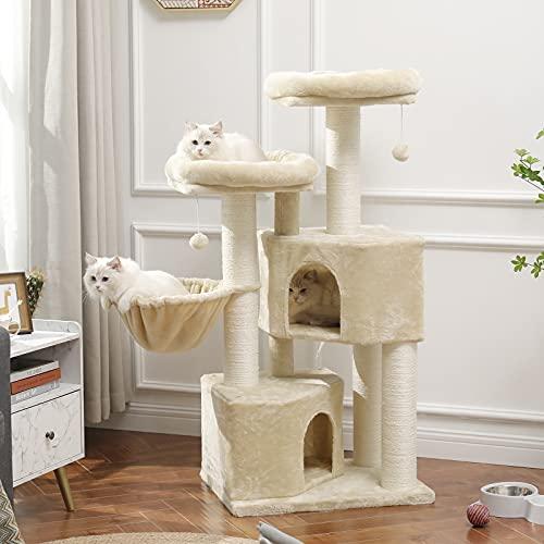 MSmask Kratzbaum groß XXL, Katzenbaum für Grosse Katzen stabil mit groß Sisal-Kratzstangen, 2 großer Aussichtsplattform (Beige+Weiß Sisalstämme)