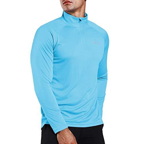 Ogeenier Herren Langarmshirt UPF 50+ UV Sonnenschutz, Langarm Laufshirt Sweatshirt 1/4 Zip für Training, Wandern, Sport