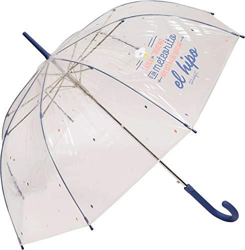 Paraguas Largo Transparente Mr. Wonderful Caiga un Trueno o un meteorito Hoy estás de Quitar el HIPO Transparente/Azul
