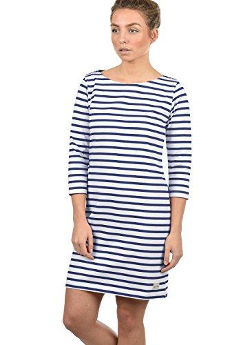 BlendShe Eni Damen Sweatkleid Sommerkleid Kleid Mit Streifen-Optik Und U-Boot-Kragen Aus 100% Baumwolle, Größe:XL, Farbe:Mood Indigo (20064)