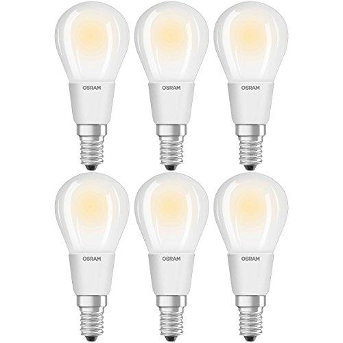 Osram Ampoule LED Filament, Forme sphérique, Culot E14, Dimmable, 5W Equivalent 40W, 220-240V, dépolie, Blanc Chaud 2700K, Lot de 6 pièces