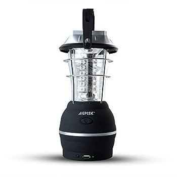 AGPtek Lanterne de Camping, Lampe Solaire, 5 Modes de Rechargement avec Dynamo à manivelle, Panneau solaire, USB Port, Adaptateur Voiture et Secteur - Etanche Portable Lumière d'urgence pour Camping, Pêche, Randonnée