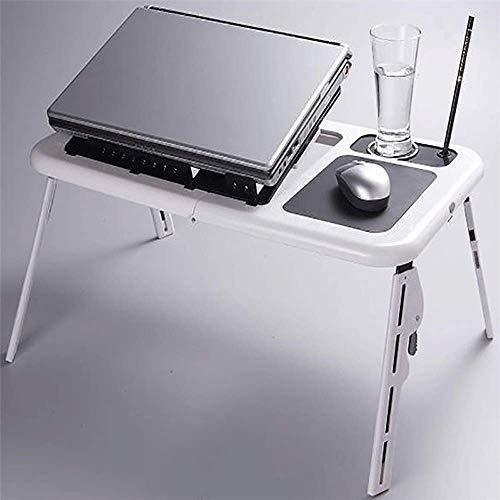 HYY-YY Escritorio plegable para ordenador portátil, con patas plegables, altura ajustable, para la escuela, oficina, cama, sofá, suelo (color: blanco, tamaño: 28,5 x 31,6 x 3,6 cm)