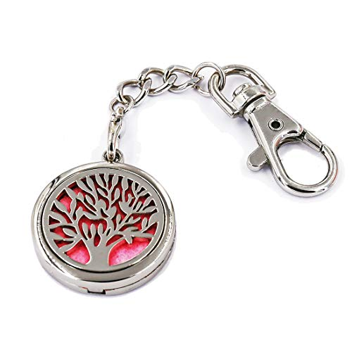 Aromatherapy Essential Oil Diffuser Perfume Floating Charm Magnetic Closure Locket Pendant Key Ring Keychain with Clip Hook Hung on Handbag Backpack Comes with 6 Color Refill Pads (Tree Of Life)