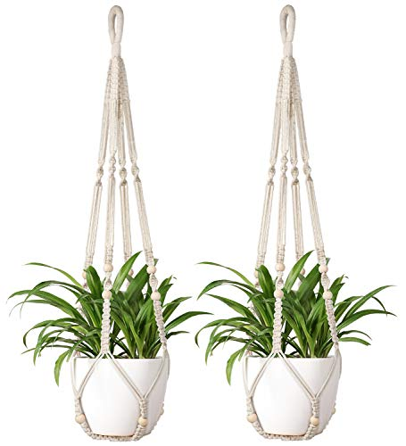 Mkono Macrame Plant Hanger Indoor Hanging Planter Basket with Wood Beads Decorative Flower Pot...