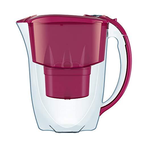 AQUAPHOR Amethyst caraffa filtrante - brocca per Acqua Potabile, 1+2 Cartucce Originali B25 Maxfor, Colore: Ciliegia