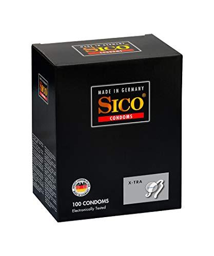 SICO X-tra Kondome - mit höherer Wandstärke - Naturkautschuklatex - einzeln verpackt in einer Box - 100er - Made in Germany
