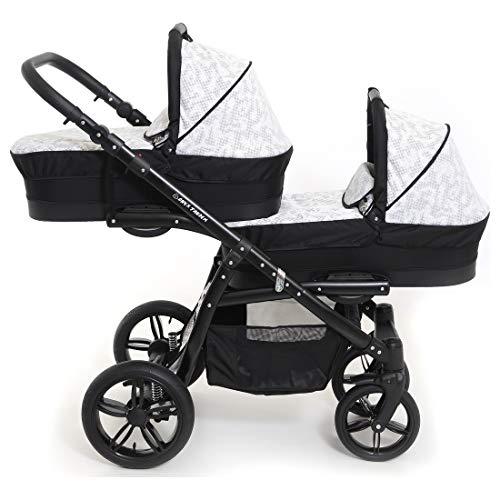 Carro gemelar 3en1 BBtwin Onyx Tandem desde nacimiento hasta los 3 años cochecito doble trio (blanco+negro)