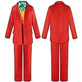 FMTZZY Disfraz de cosplay para niñas y niños 2019 película JOKER Cosplay Joaquin Phoenix payaso ropa Arthur Fleck traje rojo traje de Halloween El Joker chaqueta uniforme (color: natural, tamaño: XL)