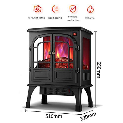 KOKIN elektrische open haard verwarming verwarming thermostaat, oven Retro 2000 Watt 3D simulatie LED vlammen met timer en afstandsbediening zwart