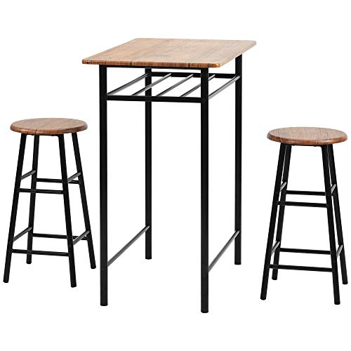 LIFE CARVER Modern Design Kitchen 3 Piece Dining Table and 2 Chairs Dining Room Furniture Set, 3 Pcs Bar Table Set (Brown)