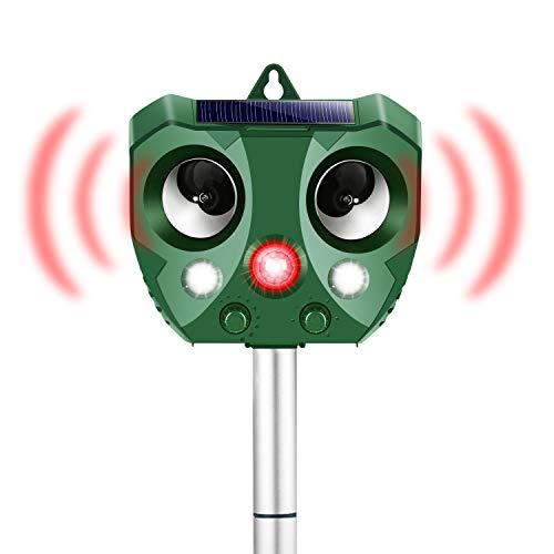 DFGOTOP 動物撃退器 超音波 猫よけ 鳩よけ 害獣撃退 赤外線センサー 感知距離9m LED 強力フラッシュラ イト ソーラー USB充電 鳥害対策 畑 庭保護