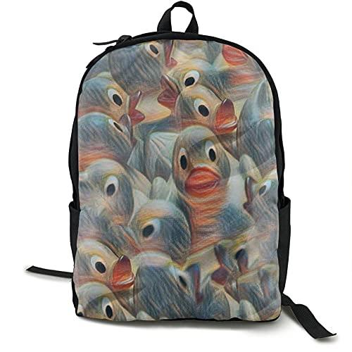 Mochila de viaje con pintura de pato de goma, resistente al agua, mochila ligera para portátil, 16,5 pulgadas
