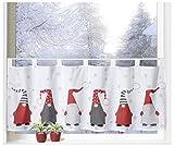 heimtexland  Scheibengardine Weihnachten 45x120 Dekoration Fenster-Deko Weihnachts-Gardine Wichtel Rot Grau Typ651