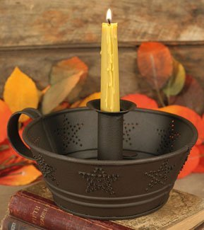 Dish Taper Candle Holder with Punched Star Tin Dish