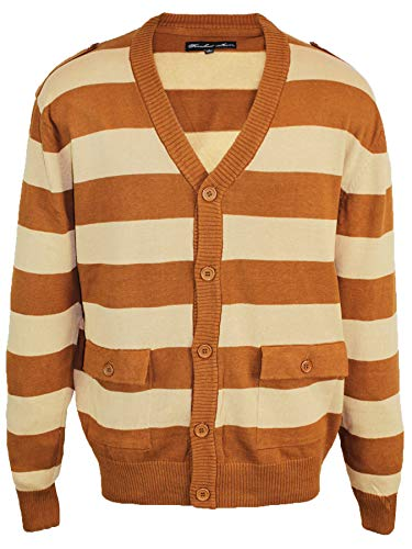 Knockout Jeans Big and Tall Men's Striped Cardigan Sweater with Button Closure Khaki Brown