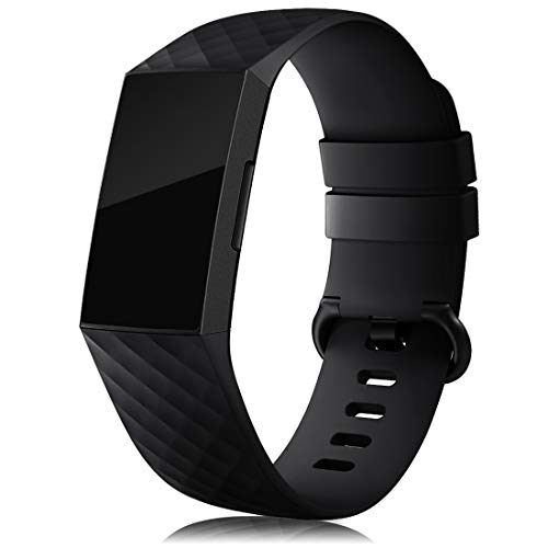 RIOROO Compatible para Fitbit Charge 3 Correa Charge 4 Pulsera,Correa Deportiva para Mujer Hombre Recambio Band Silicona,Negro
