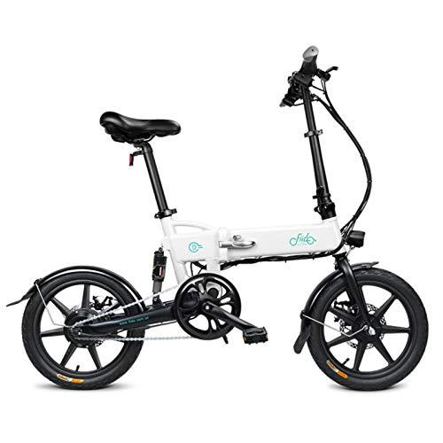 Amesii123 D2 Bicicletta Elettrica da 16 Pollici, 3 modalità di Guida Pedale Pieghevole Che Assiste E-Bike Display A LED Bicicletta Leggera per Adolescenti Adulti Bianca