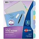 Avery 8-Tab Plastic Binder Dividers, Write & Erase Multicolor Big Tabs, 1 Set (16171),Translucent Multicolor