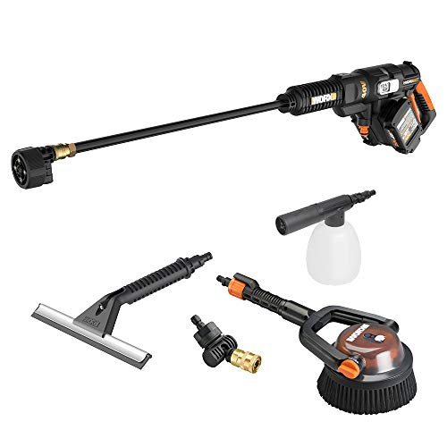 WORX WG644 40V Power Share Hydroshot Portable Power Cleaner (2x20V Batteries) with Hydroshot Deluxe Cleaning Accessory Kit, Black