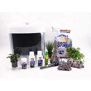 Nano-Aquarium-Set-XCube-Komplettset-wei-Cube-26-Liter-Becken-inkl-Deko-Pflanzen-LED-und-Mondlicht-Anfnger