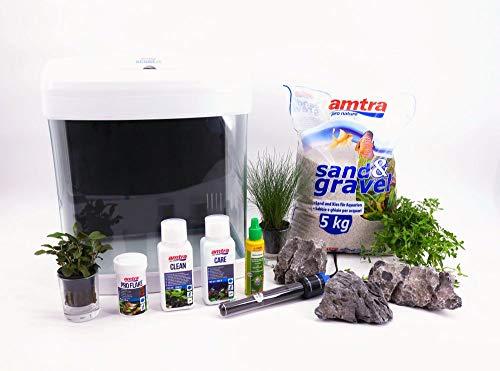 Nano Aquarium Set XCube Komplettset weiß Cube 26 Liter Becken inkl. Deko Pflanzen LED und Mondlicht...