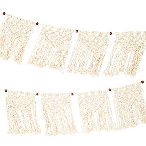 Guirnalda tejida de macramé color crema - 1,3 m   Banderines de tela de algodón 100% para dormitorio de niñas, decoración boho para el hogar, sala de estar, decoraciones para fiestas, festivales