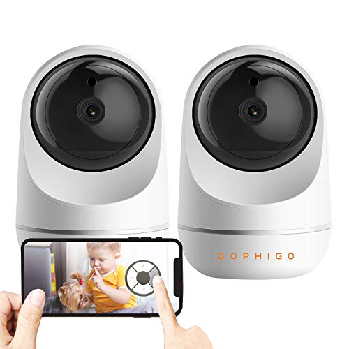 DophiGo 1080P Dome 360 Wireless Baby Monitor Safety Auto Tracking Home Security Surveillance IP Cloud Cam Night Vision Camera (2 Pack Camera)