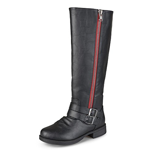 Journee Collection Womens Regular Sized and Wide-Calf Side-Zipper Buckle Knee-High Riding Boots Black/Red, 10 Regular US