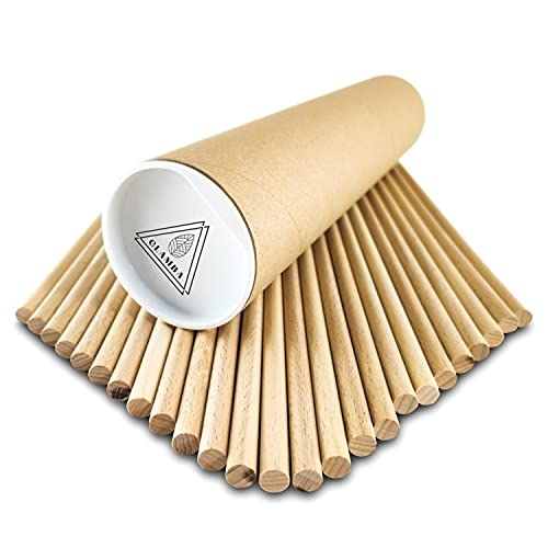 GLAMBA Hochwertiger 8mm Rundstäbe aus Buche zum Basteln | Made in Austria | Rundholz | Holzstäbchen zum Basteln | Holzstange und Bastler (25, 8 mm x 250 mm)