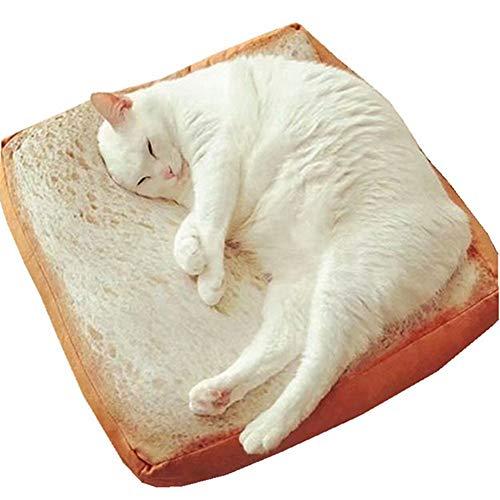 ふく福 面白い ふわふわ ペット犬猫用 ベッド クッション おもしろトースト パン 食べ物 クッション マット 食パン型座布団-40x40cm
