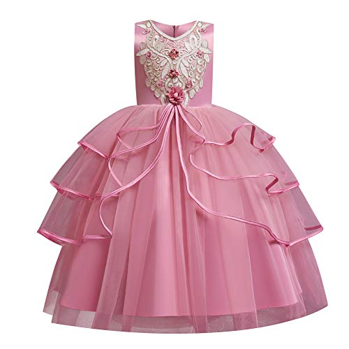 Flower Girls Lace Long Bridesmaid Wedding Pageant Party Maxi Dresses Kids Prom Communion Puffy Tulle Ball Gowns Fancy Princess Birthday Holiday Christmas New Years Gift Z-Bean Powder 8-9 Years