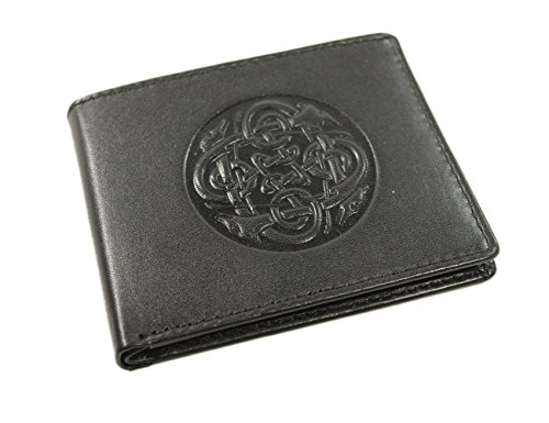 Biddy Murphy Irish Leather Wallet Black Celtic Wolf Hound Design Made in Ireland