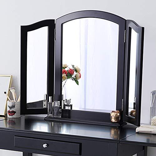 Chende Dreifach Spiegel mit Abnehmbar Base, 3-Teiliger klappbarer Kosmetikspiegel für den Schminktisch, Tischspiegel oder Wandspiegel groß
