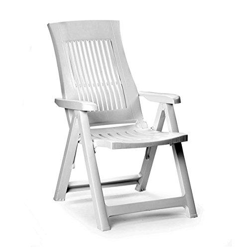 FineHome bequemer Gartenstuhl Klappstuhl, Campingsessel für Terrasse, Garten, Balkon und Camping - 5-Fach Verstellbarer Weiß