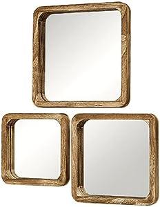 Home Collection Conjunto de 3 Espejos de Madera Paulonia Imperial de Pared 25-35 cm Decoracion Hogar