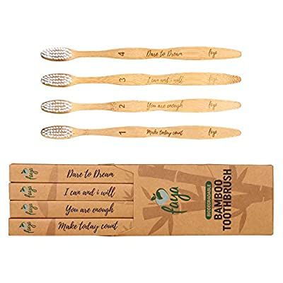 Faya Wooden Bamboo Toothbrush | 0.15mm Soft Bristle with Quotes, Ergonomic Wood Toothbrush | Numbered, Eco Friendly Toothbrush, BPA-Free | Biodegradable Natural Toothbrushes Pack for Adults and Kids