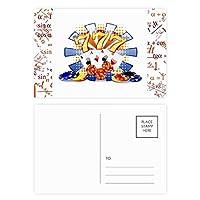 カジノのダイスポーカーチップのイラスト 公式ポストカードセットサンクスカード郵送側20個