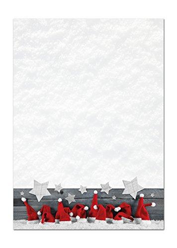 Kerstbriefpapier, kerstbriefpapier, papier, rood, witte muts, sterren, 100 g, kerstpapier, schrijfpapier, motief-papier, DIN A4, brievenboog, design-papier, 100 vellen