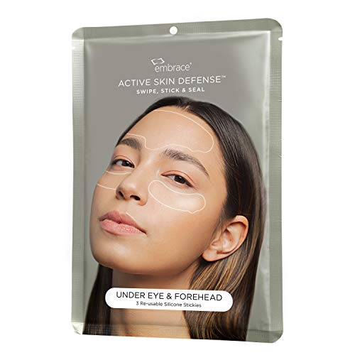 Embrace Active Skin Defense | Under Eye & Forehead | Re-Usable Silicone Stickies | Anti-Wrinkle, Puffiness, Fine Lines Overnight Smoothing Silicone Patches