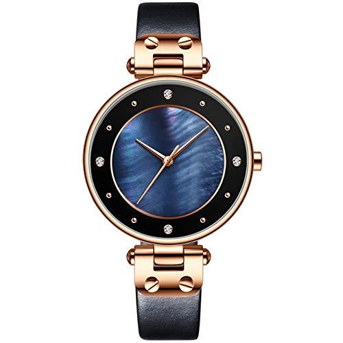 QHG Cuarzo de Cuero Reloj de Mujer Reloj de Moda Mujeres Relojes de Pulsera Reloj de Lujo Reloj de Pulsera Casual Mujer (Color : C)