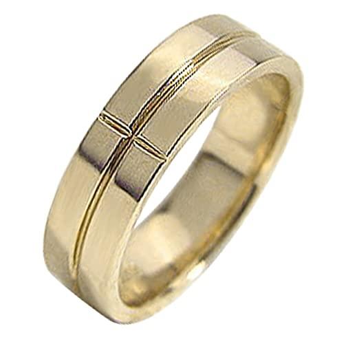 [ジュエリーアイ]Jewelry i 指輪 クロスリング 10金 幅広 イエローゴールドK10 十字架 結婚指輪 単品 ピンキーリング ギフト 8号
