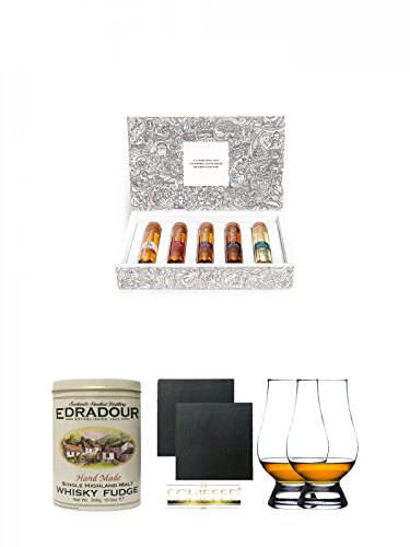 Tastillery Whisky Tasting Probierset Whisky Weltreise in Geschenkbox 5 x 50ml + Gläsergeschenkset + Whiskybonbons